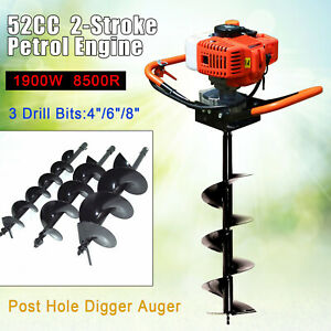 52cc 2 stroke Gas Powered Post Hole Digger Auger Borer Fence Drill 4 6 8 Bits