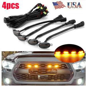 4x Raptor Style Amber Led Smoked Front Grill Light For 2016 19 Toyota Tacoma Us Fits 1955 Ford