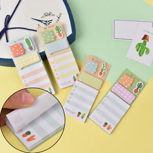 Cactus Kawaii Memo Pad Sticky Notes Cute Office Supplies Bookmark Paper Stxg