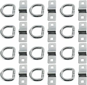 12pcs 3 8 D Rings Rope Chain Strap Cable Tie Down Flatbed Trailer D Ring Trucks