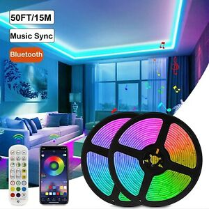 164ft Led Strip Lights 5050 Rgb Music Sync Bluetooth For Rooms Tv Bar Remote Us