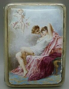 French Solid Silver Nude Woman Enamel Hand Painted Cigarette Case Paris Maker
