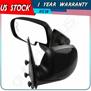For 2003 2007 Chevy Gmc Truck Black Cover Power Heated Side View Mirrors Pair