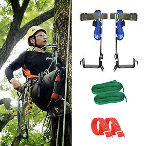 Tree Climbing Spike Set 2 Gears Safety Belt Adjustable Lanyard Rope Rescue Us1