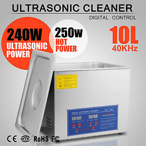 10l Stainless Steel Industry Heated Ultrasonic Cleaner Heating Heater W Timer