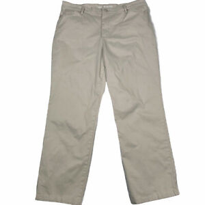 Lee All Day Pant Relax Fit Straight Leg Size 14 Short Cotton Beige Flat Front $13.98