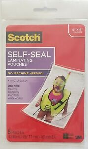 Scotch Self sealing Laminating Pouches Glossy 4 X 6 Inches 5 Sheets Pack