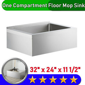 Stainless Steel One Compartment Floor Mop Sink 33 32 X 24 X 11 1 2