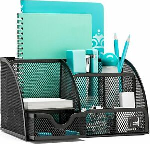 Office Desk Organizer With 6 Compartments Drawer The Mesh Collection Black