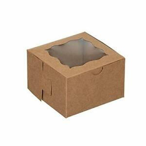 Brown Bakery Boxes With Window 50 Pack 4x4x2 5 Inch For Pastries Mini Cake Co