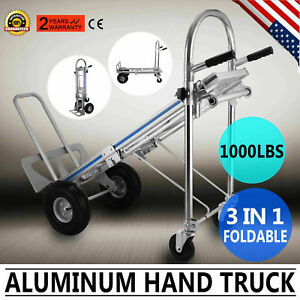 3 In 1 Aluminum Hand Truck Dolly 1000lbs Stair Climbing Cart Folding Trolley