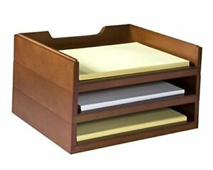 Stacking Wood Desk Organizers With 3 Letter Tray Kit wk4 ch Cherry