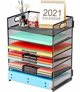 Paper Letter Tray Organizer 6 Tier Mesh File Organizer With Handle Paper Sorter