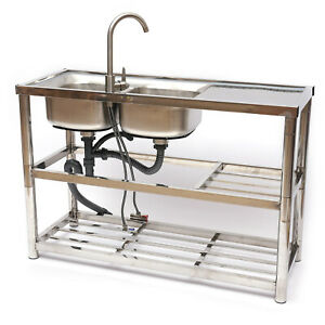 2 Compartment Stainless Steel Commercial Kitchen Prep Utility Sink W Faucet