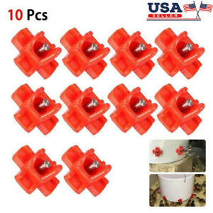 Automatic Water Feeder Drinker Chicken Waterer Poultry Chook Nipple Valves Us
