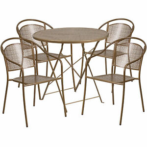 30in Round Metal Folding Patio Table Set With 4 Round Back Chairs Gold