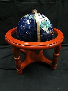 9 Globe With Semi Precious Stones And Wooden Stand