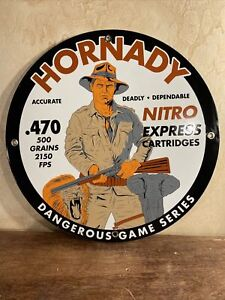VINTAGE STYLE #x27;#x27;HORNADY CARTRIDES#x27;#x27; GAS amp; OIL W DINO PORCELAIN SIGN 12 INCH $129.00