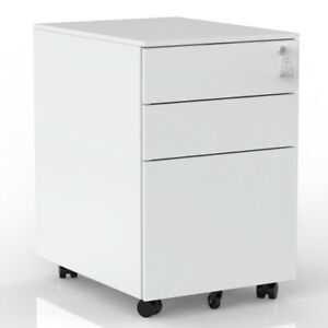 3 Drawer Movable File Cabinet W lock Home Office Storage Lateral Filing Cabinet