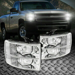 Headlights Clean Lens Lamps For 2008 2014 Chevy Silverado 1500 2500 3500 2pc Usa