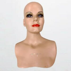 Vintage 1960s Female Woman Mannequin Bust Wig Hat Jewelry Scarf Head Used 60s