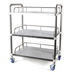 Stainless Steel 3 tier Kitchen Trolley Lab Mobile Rolling Serving Cart Silver Us