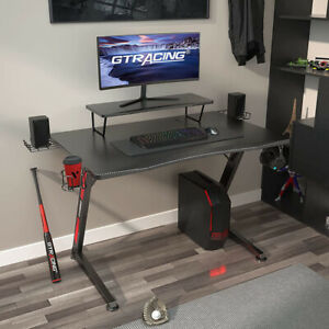 Gtracing Gaming Desk With Monitor Stand carbon Fiber Surface Gaming Table