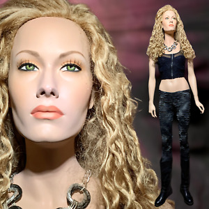 Patina V Vintage Realistic Full Life Size Female Mannequin Face With Green Eyes