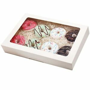 Rifmeae White Pastry Boxes 14 X 10 X 2 5 Bakery Boxes With Window Cookie B