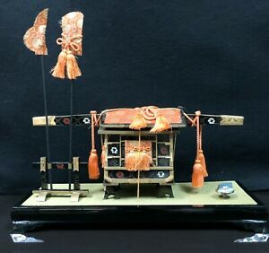 Japanese Hina Doll Carriage Palanquin Stand Lacquer Music Box Sankyo Girls Day
