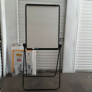 Easel With Dry Erase Board And Pad Black Steel Adjustable School Presentation