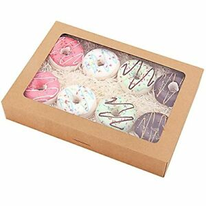 Rifmeae 15 pack Cookie Boxes 14 X 10 X 2 5 Bakery Boxes With Window Auto p