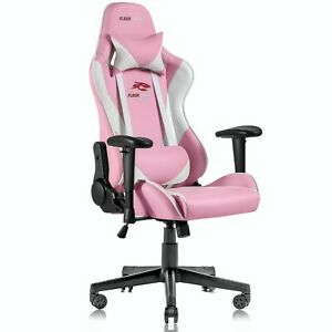 Ergonomic Computer Gaming Chair Racing Style Recliner Swivel Office Chair pink