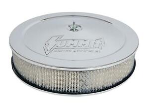 Summit Racing Chrome Air Cleaner 14 Dia Round White Paper Element G3003