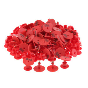 100pcs Small Pre Numbered Livestock Ear Tag For Pig Cow Goat Sheep Red