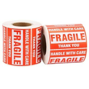 Fragile Stickers 1000 2x3 Handle With Care Thank You Warning Label 500 Per Roll