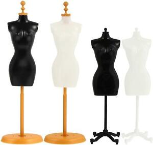 4pcs Mini Doll Dress Form Manikin Body With Base Stand For Sewing Dressmakers
