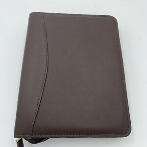 Franklin Covey Compact Brown Leather Zip Binder 6 Rings 1 1 4 1 25 8x6