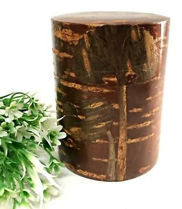 Japanese Tea Caddy Cherry Wood Bark Tin Metal Box Canister Container With Spoon