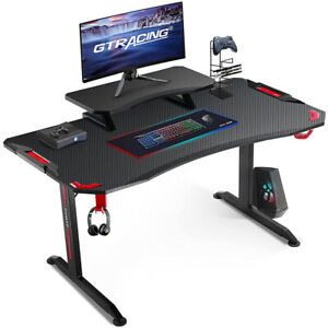 Gtracing Gaming Desk 47 Inch Gaming Desk With Adjustable Workstation t shaped