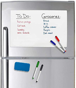 Magnetic Dry Erase Whiteboard Sheet For Refrigerator With 4 Markers 17 X 11inch