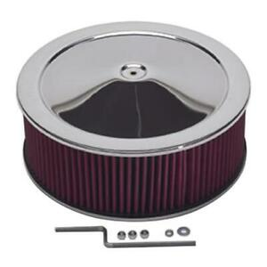 Summit Racing Chrome Air Cleaner With Reusable Filter 14 Dia Round 239452