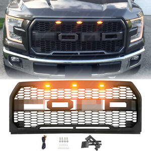 Fit 15 17 Ford F150 Matte Black Raptor Style Grille Front Bumper Upper Grill Abs
