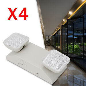 New 4pcs Led Emergency Exit Light Twin Square Head Safety Lamp W Battery Backup