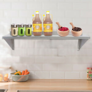 30 91cm Solid Wall Shelf Stainless Restaurant Pantry Organizer Rack Silver New