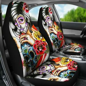 Set Of 2pcs Girl Sugar Skull Car Seat Cover Day Of The Dead Seat Cover Protector