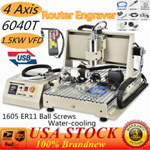 1 5kw 4 Axis Usb Cnc 6040 Router Engraver Milling Engraving Machine Cutter rc