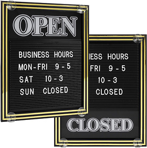 Open And Closed Sign With Letter Board For Customizable Message Or Store Busines