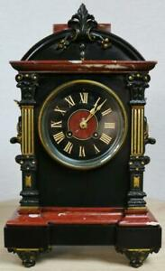 Antique French 19thc 8 Day Striking Ornate Marble 2 Tone Bronze Mantle Clock