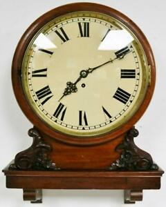 Antique English 8 Day Single Fusee Carved Mahogany Drop Dial Library Wall Clock